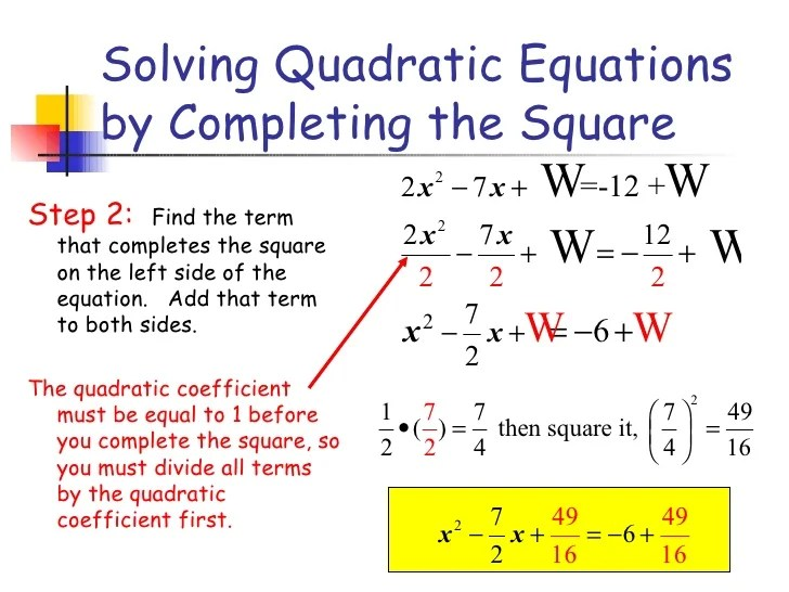 Examples Quadratic Equation By Completing Square