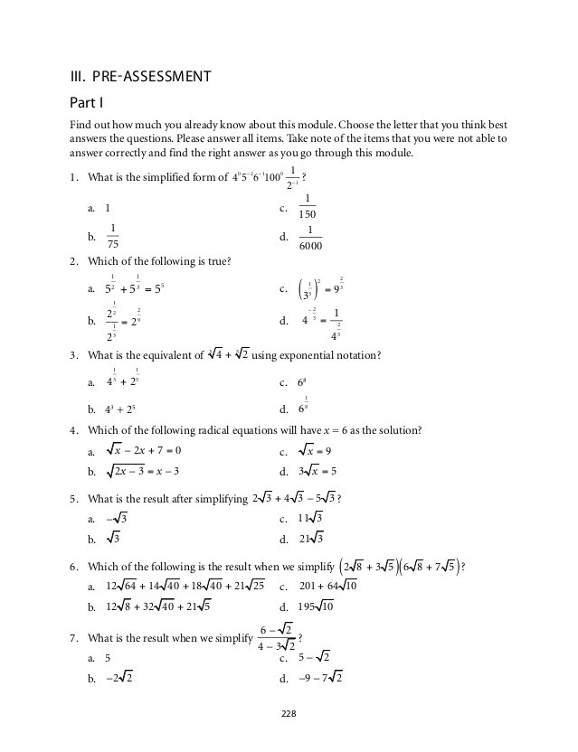 Working Radical Equations Worksheet