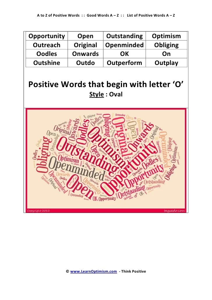 Positive Words With The Letter M