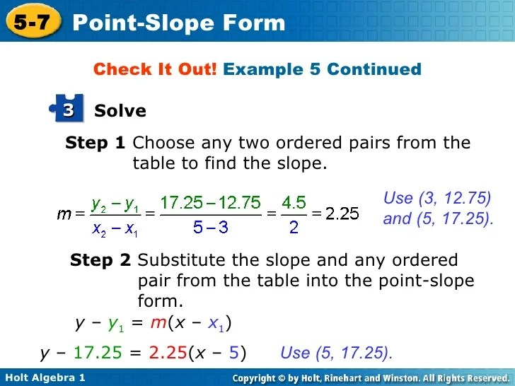 Ordered Slope Problem Example Pairs