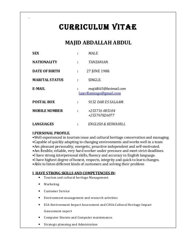 Sample Curriculum Vitae Undergraduate