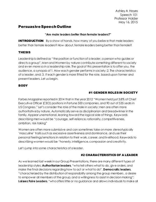 recycling persuasive speech outline