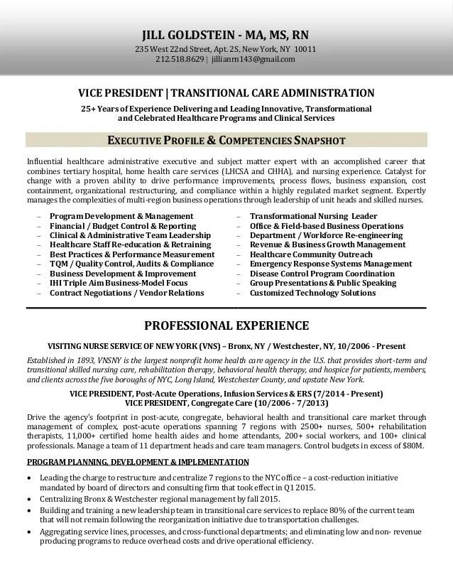 Jill Goldstein Ma Ms Rn Resume Copy