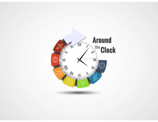 3D Clock Infographic Template