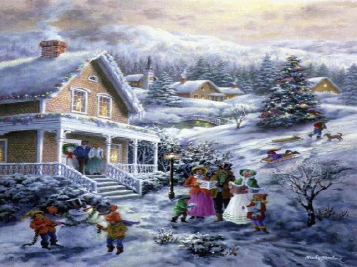 Vintage Paintings Christmas Country