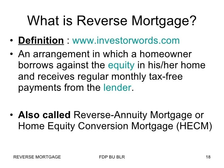 Reverse Mortgage in India