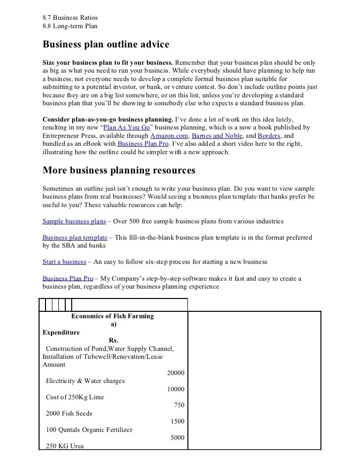 Financial Business Plan Outline - Fill in the blank business plan template