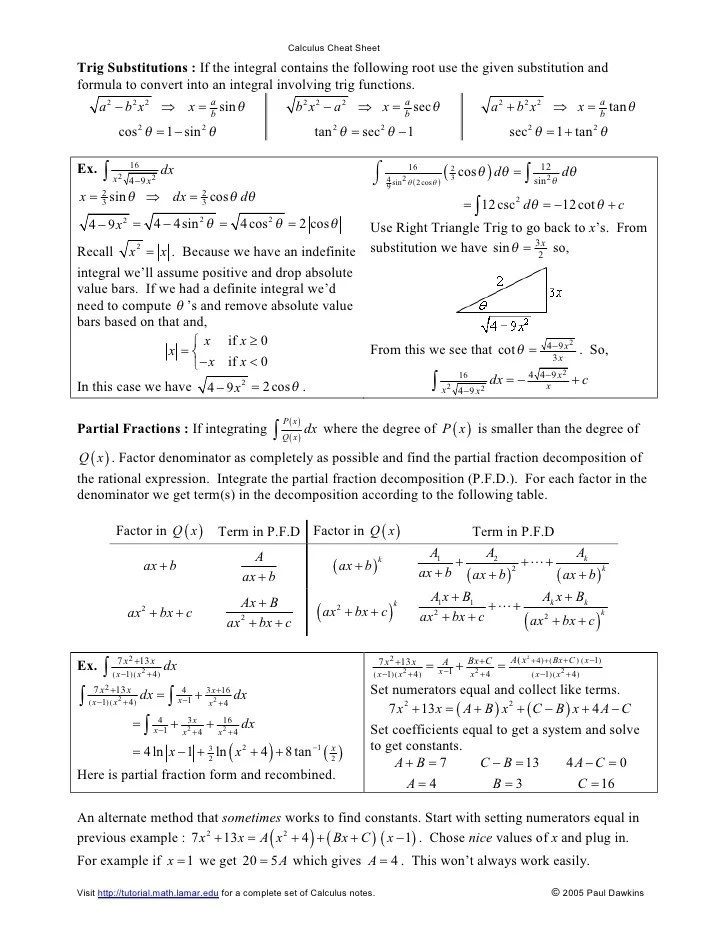 Calculus Reference Sheet Ibovnathandedecker