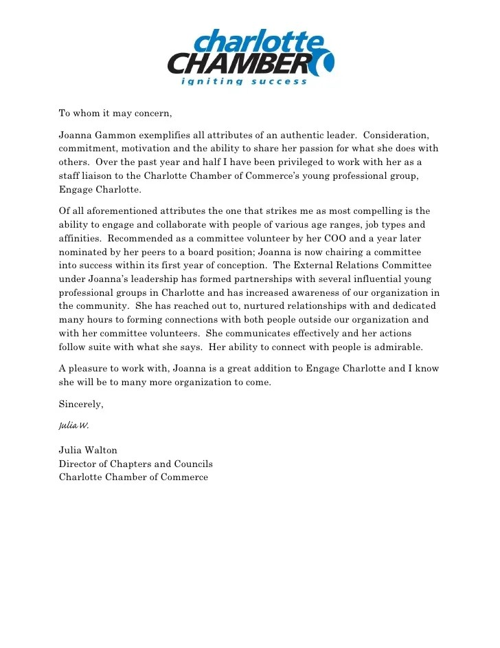 Example Reference Letter Volunteer Work