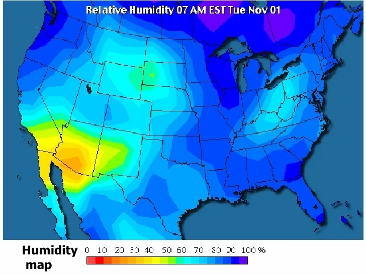 Chapter 16 2 Air Masses  Fronts And Weather Maps Andie Humidity map  35