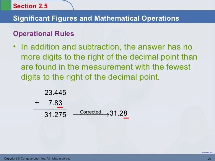 No Significant Figures Addition And Decimal Subtraction