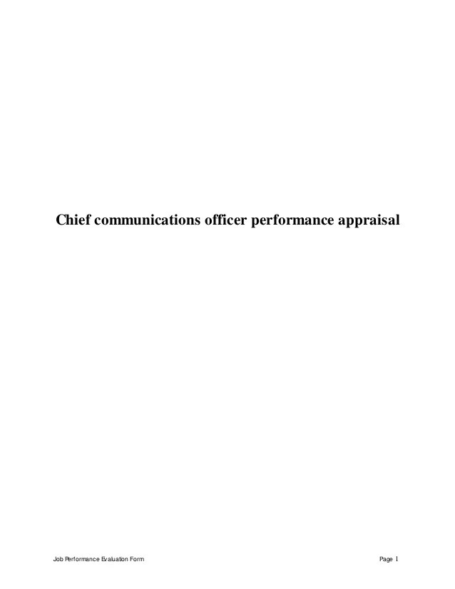 Chief communications officer perfomance appraisal 2