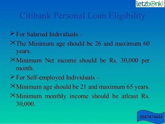 Citi Bank Personal Loan Emi Calculator