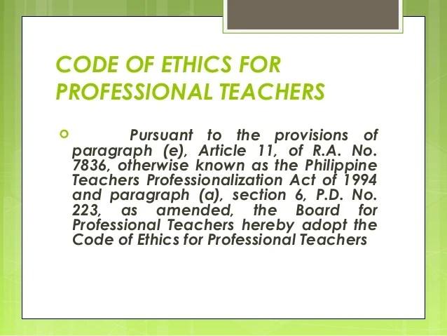 Ethics Code Professional Teachers