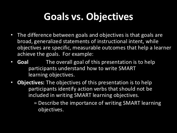 And Goals Writing Training Objectives