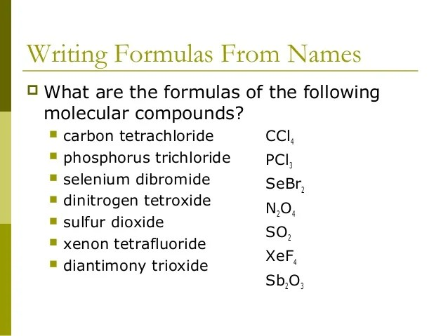 Formulas Bonds Chemical Covalent