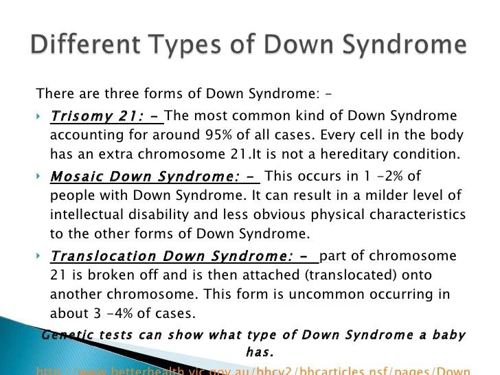Different Types Down Syndrome