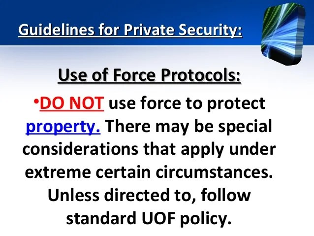 Security Force Private Use