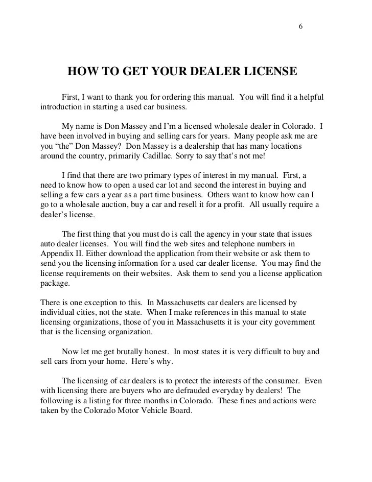 How Get Dealers License Without Lot