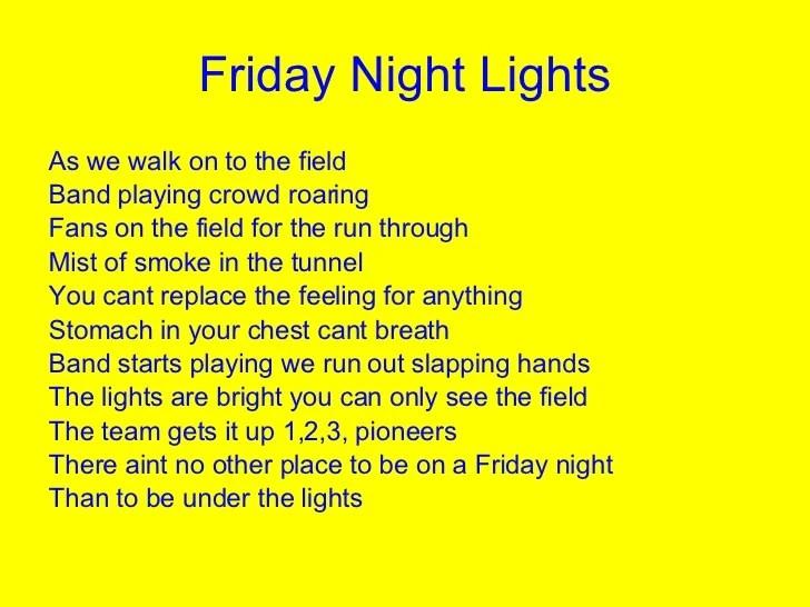 Friday Night Lights Poem