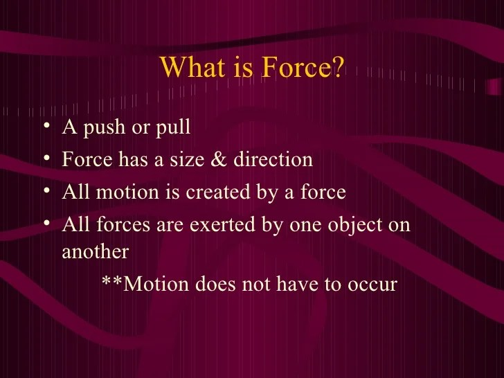 Force Or Push Object Exerted Pull