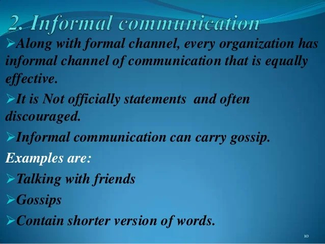 formal communication channels