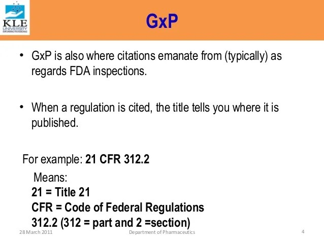 Federal Code And Gmp Regulations