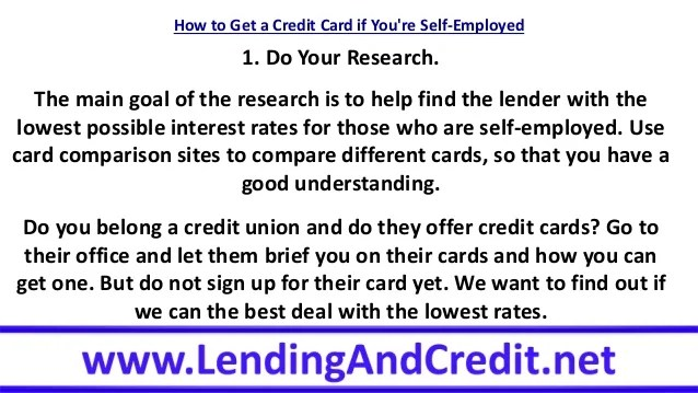 How to Get a Credit Card if You're Self-Employed
