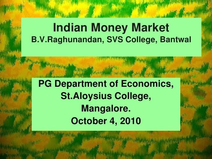Indian money market b.v.raghunandan