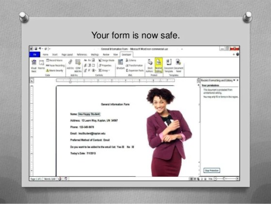 How to create a simple  fillable form using Microsoft Word Your form is now safe