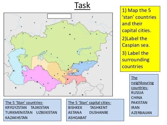 Map Uzbekistan Kyrgyzstan Tajikistan