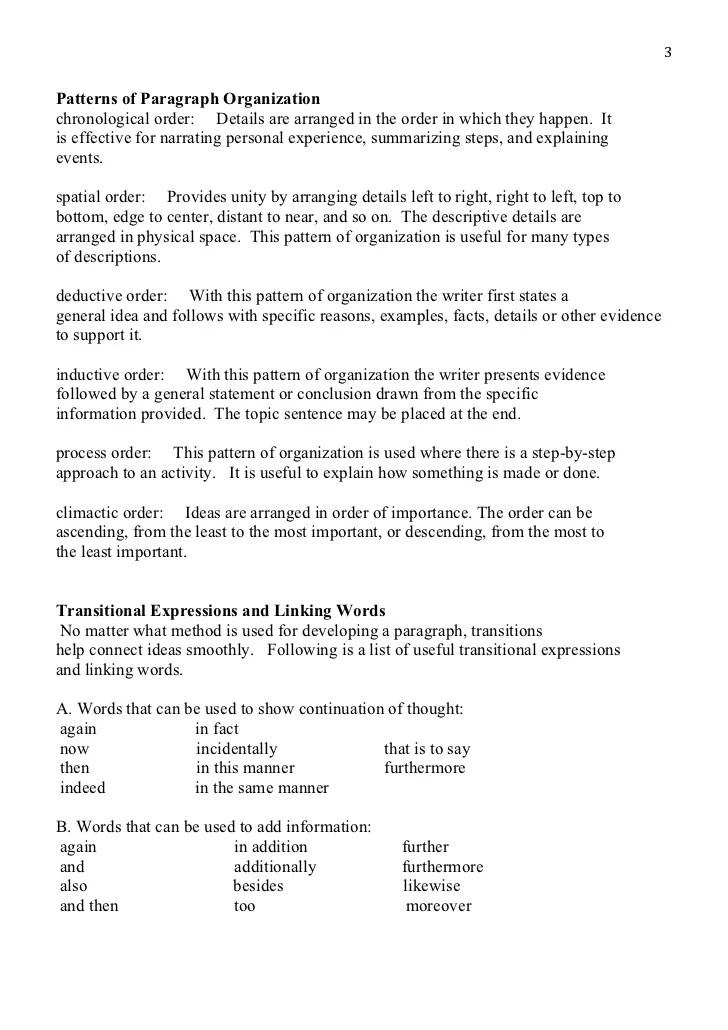 deductive order paragraph