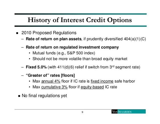 Market based cash balance plans