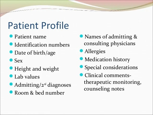 Pharmacy Patient Profile Template