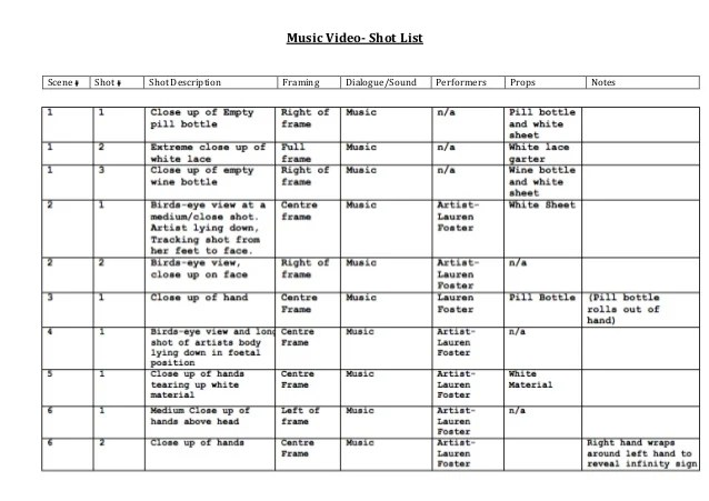 Film Production List Template