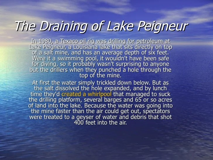 Mine Disaster Lake Louisiana Salt