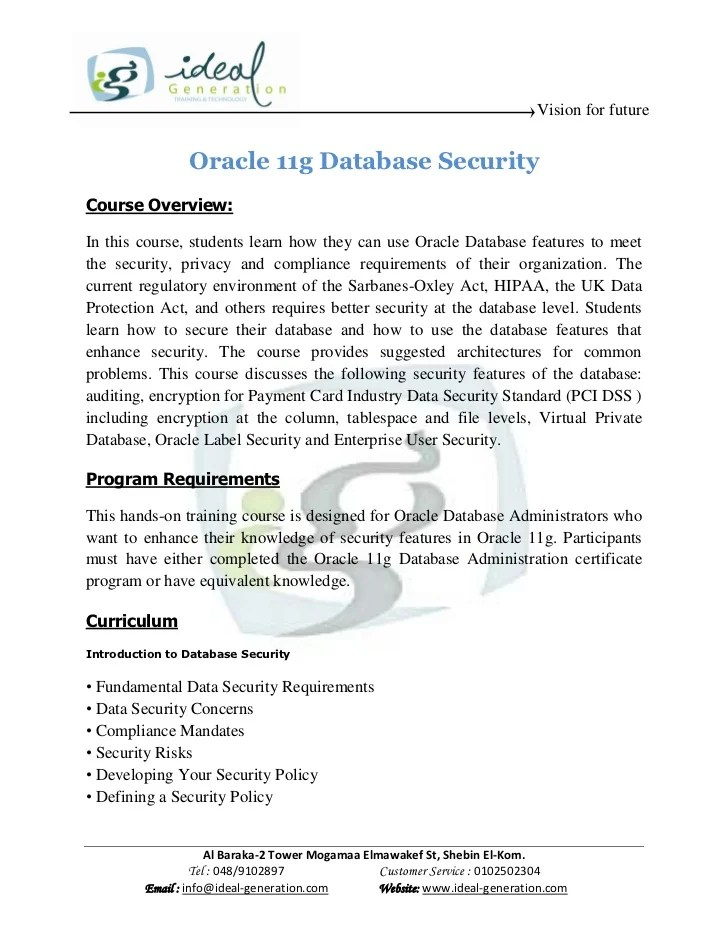 Database Lecture Security