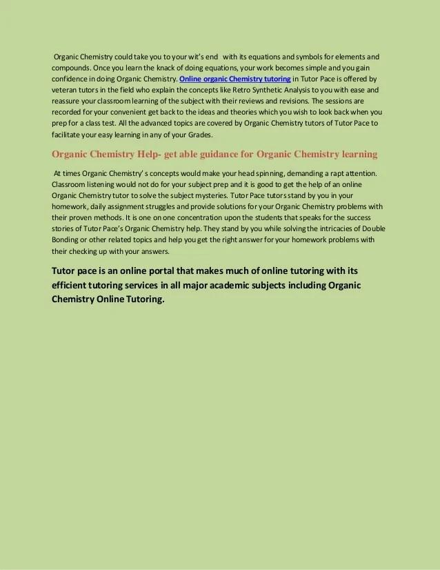 Organic chemistry online tutoring