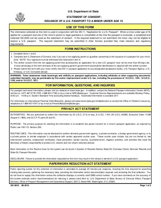 Parental Consent Form Ds 3053