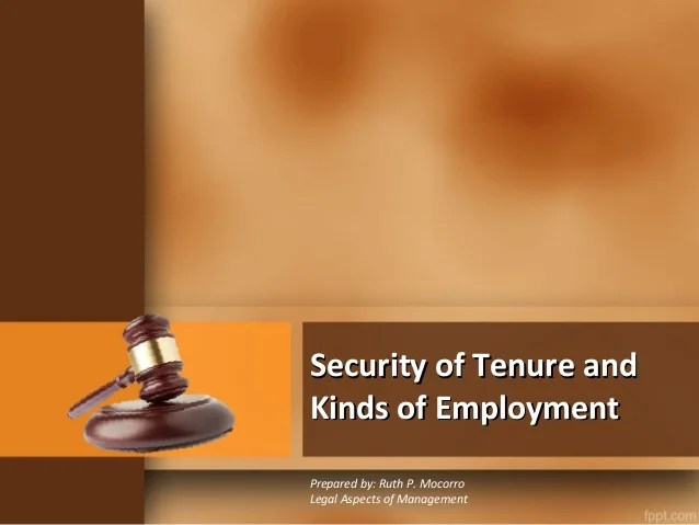 Law What Tenure Security