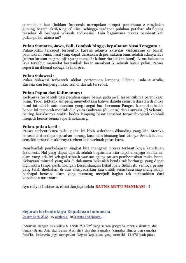Proses terbentuknya kepulauan indonesia