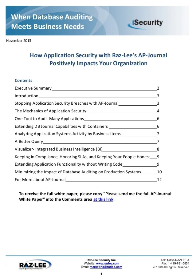 Database Security Journal