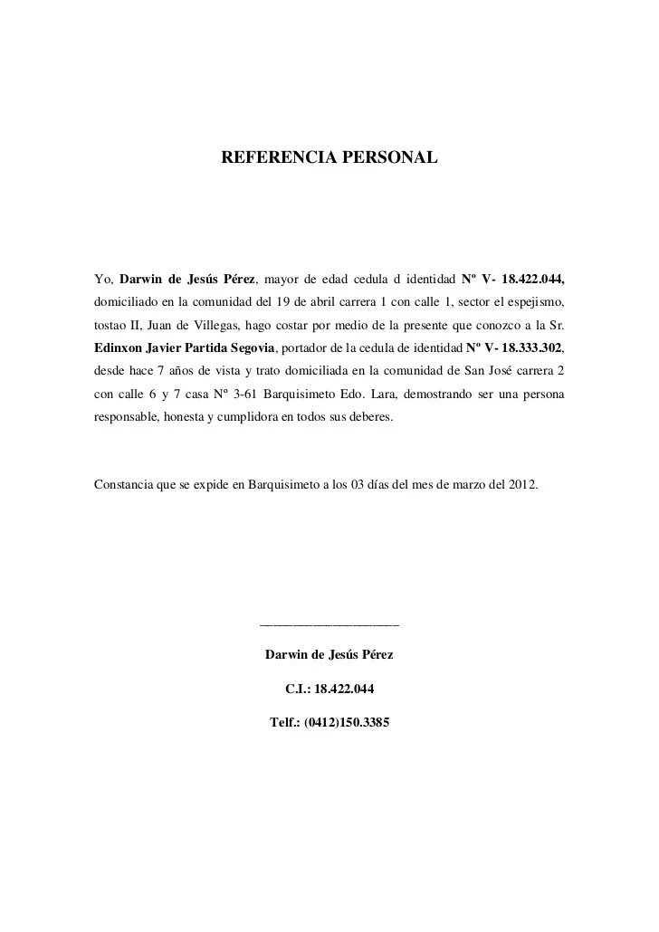 modelo carta de referencia personal