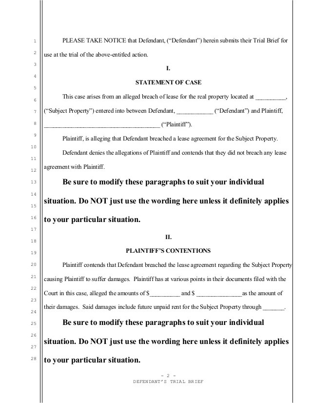 Trial Court Brief Example
