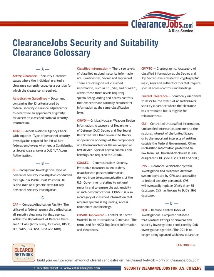 What Security Clearance Mean