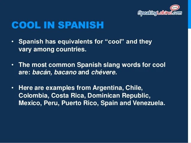 Cool Spanish Words And Meanings