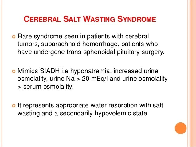 Inappropriate Adh Syndrome