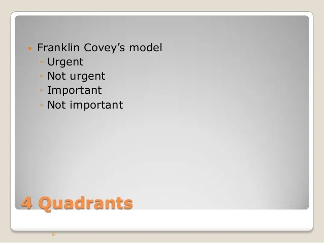 Quadrants 4 Franklin Management Covey Time