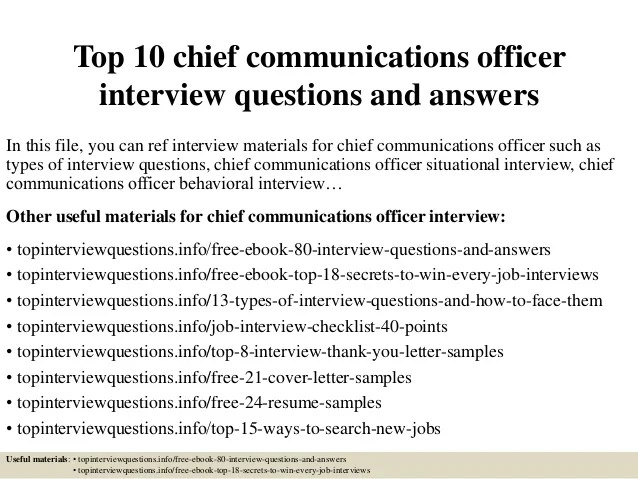Top 10 chief communications officer interview questions ...