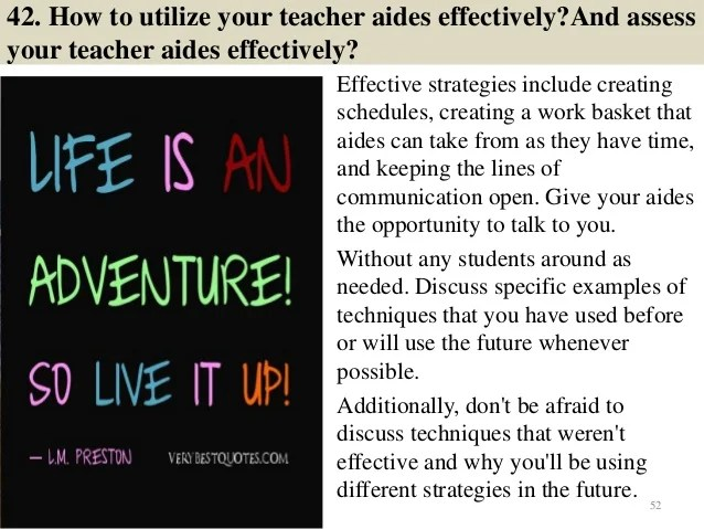 teacher aide interview questions and answers